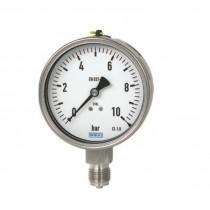 Pressure Gauge 0 to 1600 bar range, SS Case, Lower and Back Mount, Dry Filled